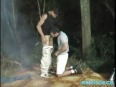 Latin homosexual twinks suck in dark forest