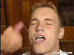 Hawt gay man sub swallows hot ball cream