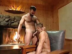Untamed bear man sucked by fireplace