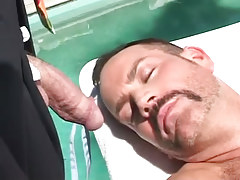 Mature unshaved gay guy relaxes by pool