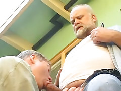 Old man-lover sucked by lusty dilf outdoor