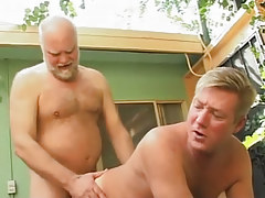 Hairy parent drills poor dilf in doggy style