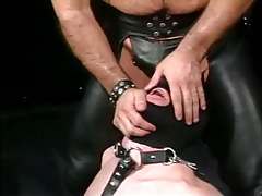 Tainted full-grown faggot in leather tortures poor lad