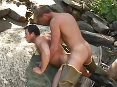 Gay guy fisherman massive fucks hunk behind in nature