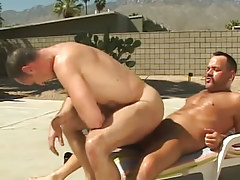 Lusty ripe dude rides pecker of bear gay outdoor