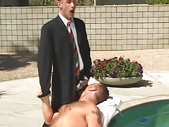 Sexually aroused homosexual boss spoils hairy man by pool