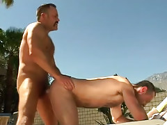 Bear full-grown homo fucks dilf in doggy style outdoor