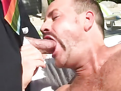 Bear man throats bosses pride outdoor