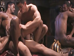 Interracial gay guys extreme fuck in group fuck