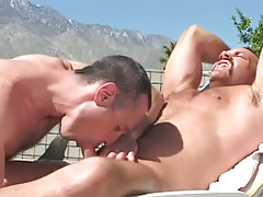 Bear man-lover sucked by sexually aroused grown guy outdoor