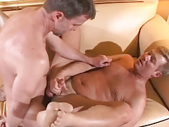 Melodious gay sleeps with hirsute man on daybed