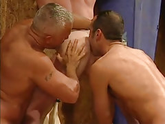 Mature gay guys lick appetizing elastic ass in threesome