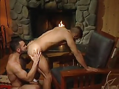 Bear gay guy licks appetizing wazoo by fireplace
