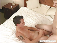 Appealing adolescent gay cums on belly