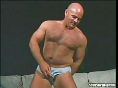 Bear mature man-lover presents hairy body
