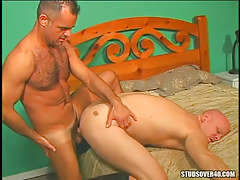Mature bear homosexual fucks dilf in doggy style