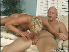 Golden-haired adolescent gay engulfing ache daddy