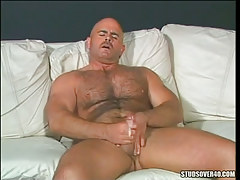 Hungry bear gay cums after hand job
