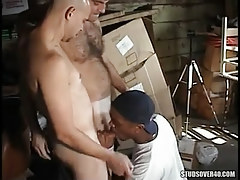 Interracial man-lovers swallow in band fuck
