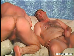 Unshaved twinks jerk off and expand hard buns