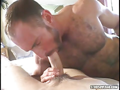 Grown hairy homo sucking cute pal