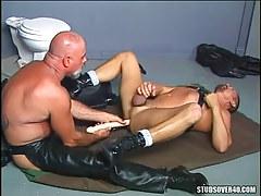 Old bear gay in leather dildofucks man on floor