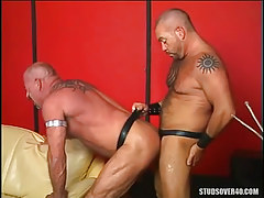 Curly man-lover drills old guy in doggy style