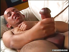 Gay with massive cock masturbates