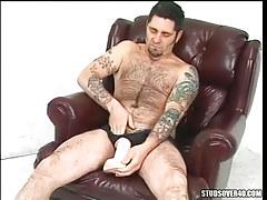 Bear mellow faggot plays with huge sex toy