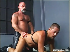 Mature hairy gay gets tough anal behind on floor