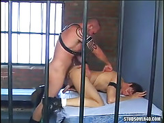 Hairy prisoner humps hunk in doggy style