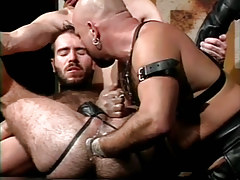 Shaggy dilf fistfucked by placid bear man in s&m orgy