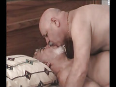 Stout silver gays kissing in bed