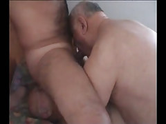 Unshaved man sucked and licked by old gays