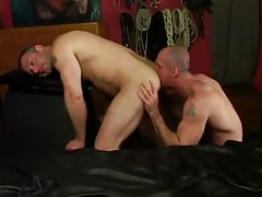 Sexually excited dilf licks muscled dick-holders waste