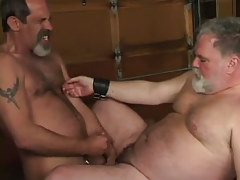 Mature shaggy gay cums on old plump male