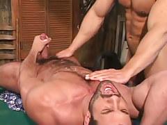 Bear gay guy dilf cums on billiard table