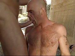 Bear gay deep mouths cock under bridge
