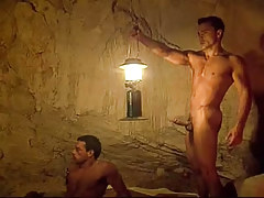 Extreme homo hunks have fun in cave