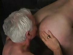 Silver man-lover man licks appetizing ass