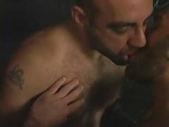 Hairy man-lover gentlemen giving a kiss