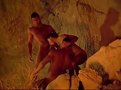 Three muscle homosexual guys suck always other in cave