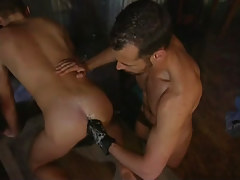 Naughty gay guy guy gets subterranean fist inside-holes by mature gay guy