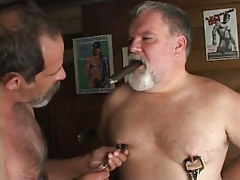Lusty old man-lovers touch tit buttons with cigar