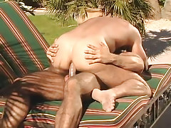 Muscle faggot dilf rides tough dick outdoor