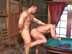 Hot muscle homosexuals heavy fuck on billiard table