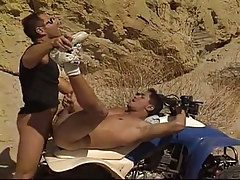 Amateur guy purchases his first anal in desert