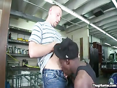 Homosexual gentleman sucked by black male