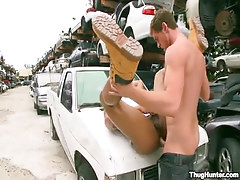 Ebony coed attains deep anal on car