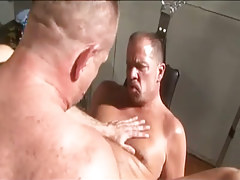 Hairy grandpa gay drills his old assistant